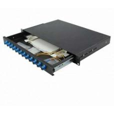 """ODF 12 port Fiber optic enclosure, 19"""" rackmount, ST/SC/FC panel, black metal with splice tray (casket) & holder Dintek 2201-24012"""