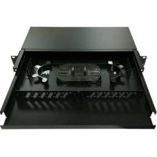 "ODF 24 port Fiber optic enclosure, 19"" rackmount, ST/SC/FC dual type panel, black metal with splice tray (casket) & holder Dintek 2201-24060"