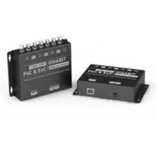 Thiết bị truyền dẫn tín hiệu Ethernet RJ45 + Nguồn DC bằng cáp đồng trục Coxial 7 kênh Video G-Net G-PEC-701T