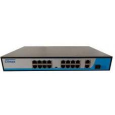 Bộ chia mạng POE Climax CL-16PE100-U1SF 16 cổng POE + 2cổng UPLINK 1000Mbs + 1 cổng SFP CL-16PE100-U1SF 300W