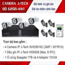 Trọn bộ 4 camera Thân 3 megapixels J-Tech công nghệ Nhật bản J-TECH-KIT-6208-4W1
