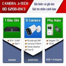 Trọn bộ 8 camera Thân 3 megapixels J-Tech công nghệ Nhật bản J-TECH-KIT-6208-8W1