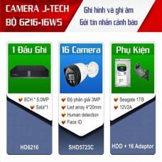 Trọn bộ 16 camera Dome 3 megapixels J-Tech công nghệ Nhật bản J-TECH-KIT-6216-16W5