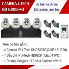 Trọn bộ 4 camera Dome 3 megapixels J-Tech công nghệ Nhật bản J-TECH-KIT-6208-4D