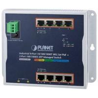 Bộ chia mạng công nghiệp Planet 8 Port 100/1000 PoE 2 Port SFP Wallmount WGS-4215-8P2S