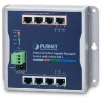 Bộ chia mạng công nghiệp Planet 8 Port 100/1000 Wall-mount with 4 Port PoE WGS-804HPT