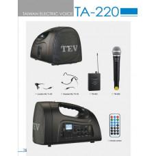 Tăng âm liền loa 50w  (có 1 micro không dây cầm tay, có đường vào USB, SD) thương hiệu TEV model TA-220