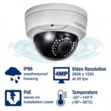 Camera quan sát Indoor / Outdoor 4 MP PoE Day/Night Dome Network Camera Trendnet TV-IP315PI