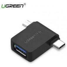 Bộ chuyển đổi C to USB 3.0 Micro USB + USB model 30453 đen Ugreen 30453