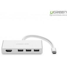 Bộ chuyển đổi Type C ra HDMI+3 port USB 3.1 model trắng 15cm Ugreen 40374