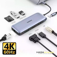Ugreen 70301 USB type C Bộ chuyển đổi sang 2*USB 3.0 + HDMI + VGA + DP + RJ45 giga + SD&TF + nguồn PD CM274 20070301