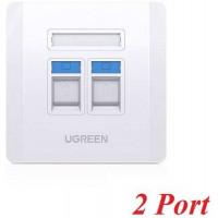 Ugreen 80182 R.J45 - RJ11 mặt nạ mạng âm tường màu trắng LAN 1 công RJ45 và 1 công RJ11 telephone hình vuông 86 mm x 86 mm NW144 10080182