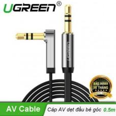 Cáp dẹp mạ vàng góc phải 3.5mm đực ra 3.5mm đực model AV119 trắng 1.5M Ugreen 10758