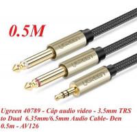 Cáp âm thanh 3.5mm TRS ra Dual 6.35mm TS model AV126 đen 0.5M Ugreen 40789