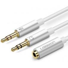 Bộ chia âm thanh 3.5mm cái to 2 đực model AV140 đen 20CM Ugreen 20899
