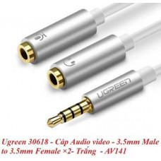 3.5mm đực ra 3.5mm cái ×2 model AV141 đen Ugreen 30619