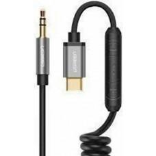 Cáp âm thanh USB Type C ra 3.5mm Coiled Stereo model AV143 đen 1M Ugreen 30634