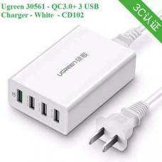 Bộ sạc 3.0+ 3 USB sạc nhanh model CD102 trắng Ugreen 30561