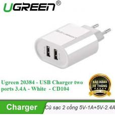 Bộ sạc 2 ports 3.4A USB model CD104 trắng Ugreen 20384