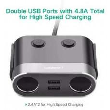 Bộ sạc xe hơi 1A+2*2.4A 3 Ports model CD131 đen Ugreen 30516
