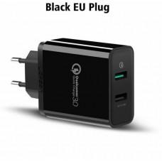 Bộ sạc 3.0 sạc nhanh 2.4A+ Dual USB model CD132 đen Ugreen 40712