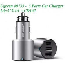 Bộ sạc xe hơi 1A+2*2.4A 3 Ports model CD165 bạc Ugreen 40733