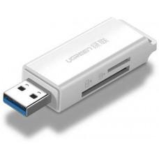 Đồ đọc thẻ xe hơi Dual read USB 3.0 ra TF+SD model CM104 trắng trắng Ugreen 40753