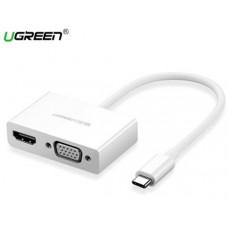 Bộ chuyển đổi Type C ra HDMI+VGA model CM178 trắng Ugreen 50510