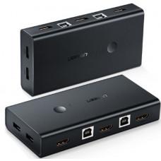 Bộ chuyển HDMI 2*1 KVM model CM200 đen Ugreen 50744