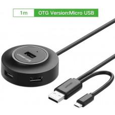 Hub 4 Ports với OTG USB 2.0 model CR106 đen 80CM Ugreen 20275