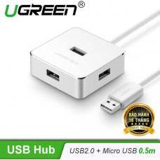 Hub 4 Port USB 2.0 tốc độ cao model CR135 trắng 50CM Ugreen 30426