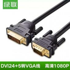 Cáp DVI(24+5) đực ra VGA đực model DV102 đen 1M Ugreen 30741