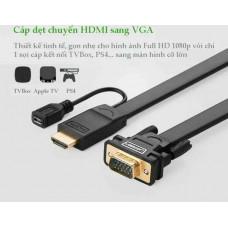 Bộ chuyển đổi cáp dẹp HDMI ra VGA model MM101 3M 3M Ugreen 40232