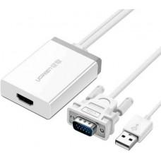 Bộ chuyển đổi VGA to HDMI model MM106 trắng 1cm trắng 1cm Ugreen 40235