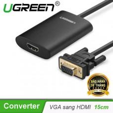 Bộ chuyển đổi New VGA đực ra HDMI cái model MM110 đen 50CM Ugreen 40264