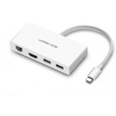 Bộ chuyển đổi Type C ra HDMI+ Dual USB+ Ethernet model MM134 trắng 0 Ugreen 40377