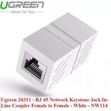 Đầu nối dây mạng cái ra cái Line Coupler Fe RJ 45 mạng LAN Keystone Jack In model NW114 trắng Ugreen 20311