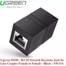 Đầu nối dây mạng cái ra cái Line Coupler Fe RJ 45 mạng LAN Keystone Jack In model NW114 đen Ugreen 20390