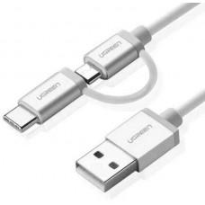 Cáp kèm bộ chuyển cổng Lightning vỏ nhôm Micro USB ra USB model US165 0.5M trắng 0.5M trắng Ugreen 20747