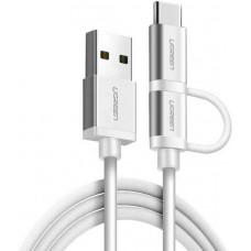Bộ chuyển đổi cáp với USB-C Micro USB model US177 bạc 1.5M Ugreen 20873