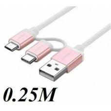 Bộ chuyển đổi cáp với USB-C Micro USB model US177 vàng hồng 0.5M Ugreen 30542