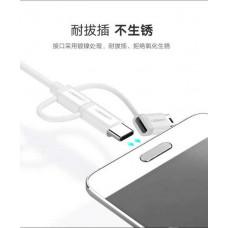 Cáp dữ liệu USB ra Micro USB+ USB-C + Mini USB model US185 bạc 2M Ugreen 40769