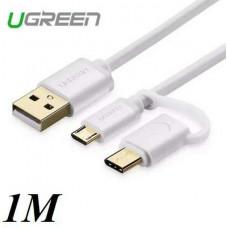 Cáp dữ liệu A to Micro USB + USB Type C USB model US197 trắng 0.5M Ugreen 30575