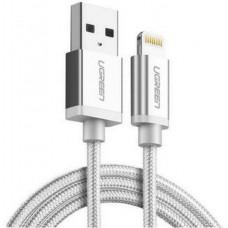 Cáp lightning ra USB ( vỏ nhôm dây bện ) MFI model US199 trắng 2M trắng 2M Ugreen 30586