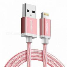 Cáp lightning ra USB ( vỏ nhôm dây bện ) MFI model US199 vàng hồng 2M vàng hồng 2M Ugreen 30592