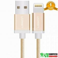 Cáp lightning ra USB ( vỏ nhôm dây bện ) MFI model US199 vàng 0.5M vàng 0.5M Ugreen 40695