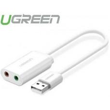 Bộ chuyển đổi vỏ nhôm USB 2.0 External Sound model US218 bạc bạc Ugreen 30801