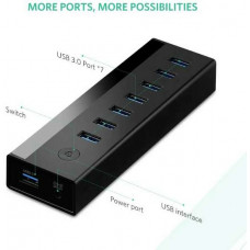 Bộ chuyển đổi USB 3.0 7 ports HUB với 5V power model US219 đen Ugreen 30845