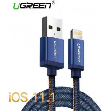 Cáp bện USB 2.0 ra Lightning model US247 xanh 1M xanh 1M Ugreen 40340