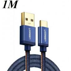 Cáp bện sạc và truyền dữ liệu USB 2.0 ra Tyec C model US250 xanh 0.5M Ugreen 40343